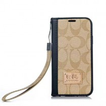 Coach Leather Wallet IPhone 13/12 pro max xr/xs 7/7 Plus  Folio cover for iPhone 8/8 plus Coach Flip Chain Leather Case